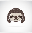 sloth head on white background wild animals vector image vector image