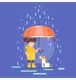 smiling girl in a yellow raincoat vector image vector image