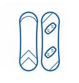 Snowboard Outline Monochrome Icon vector image vector image
