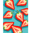 strawberries on blue vector image vector image