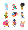 superhero kids children wearing in superheroes vector image