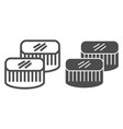 sushi line and glyph icon asian food vector image