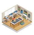tailor atelier isometric composition vector image vector image
