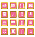 theater icons pink vector image
