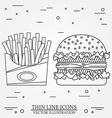 thin line icon hamburger and fries For web design vector image