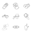 Virtual reality set icons in outline style Big vector image vector image