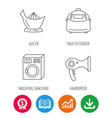 Washing machine multicooker and hair dryer icons