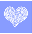 white hand drawing heart Card for Valentines Day vector image vector image