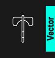 white line medieval axe icon isolated on black vector image vector image