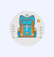 with cartoon flat backpack vector image