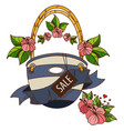 womens beach bag with the word sale color of vector image vector image
