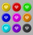 Diamond Icon sign symbol on nine round colourful vector image