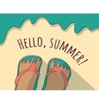 Happy summer beach sea sand woman vector image