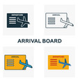 arrival board icon set four elements in diferent vector image