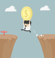 Businessman holding money jumping over the cliff vector image vector image