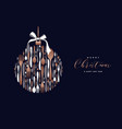 christmas and new year copper cutlery card vector image