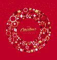 christmas and new year gold line icon wreath vector image