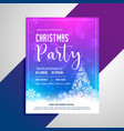 christmas party flyer with snowflakes tree vector image