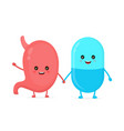 cute funny smiling pill and healthy vector image vector image