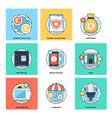 Flat Color Line Design Concepts Icons 17 vector image