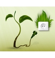 Green grass and a socket with plugs vector image