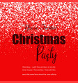 happy christmas party snow red background vector image vector image