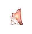 harp musician woman performance vector image