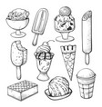 ice cream sketch set for shop or cafe decor vector image