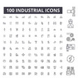 industrial editable line icons 100 set vector image vector image