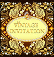 invitation vintage background with golden roses vector image vector image