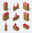 isometric european buildings set vector image vector image