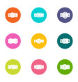 leather strap icons set flat style vector image vector image
