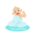 little baby boy in nappy tangled in blanket