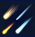 meteorite icon set realistic style vector image vector image