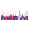 paris france landmarks skyline blue and red vector image vector image