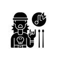 rock music black glyph icon vector image