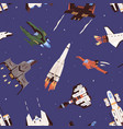 seamless pattern with spaceships and rockets in vector image vector image
