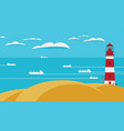 seascape with lighthouse on the hill and ships vector image
