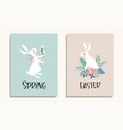 set of easter greeting cards invitations with vector image