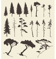 Set of trees vintage hand drawn vector image
