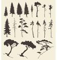 set trees vintage hand drawn vector image