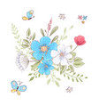 set wildflowers and butterflies hand drawing vector image vector image