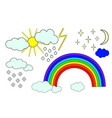 sky with sun clouds rainbow and rain snow moon vector image