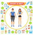 sport and diet icons and lady vector image vector image