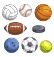 Sport balls set Hand drawn color pencil sketch vector image