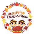 super cute happy thanksgiving pilgrim boy girl vector image vector image