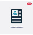 two color female journalist on tablet icon from vector image vector image