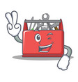 two finger tool box character cartoon vector image