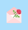 valentines day open envelope with card and rose vector image vector image