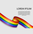 waving ribbon or banner with flag lgbt pride vector image